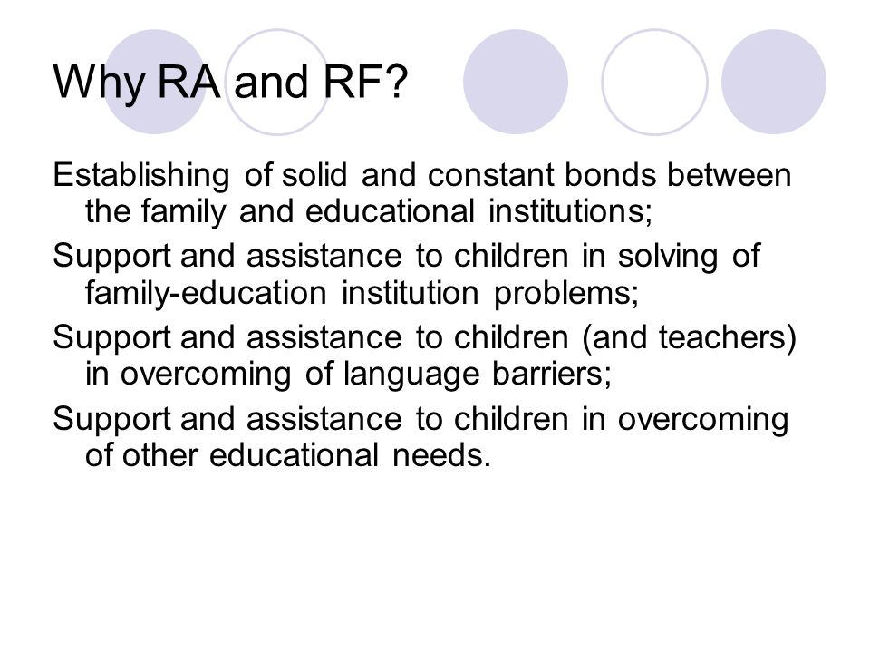 Why RA and RF Establishing of solid and constant bonds between the family and educational institutions;