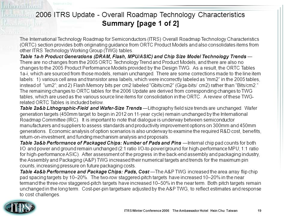 2006 ITRS Update - Overall Roadmap Technology Characteristics
