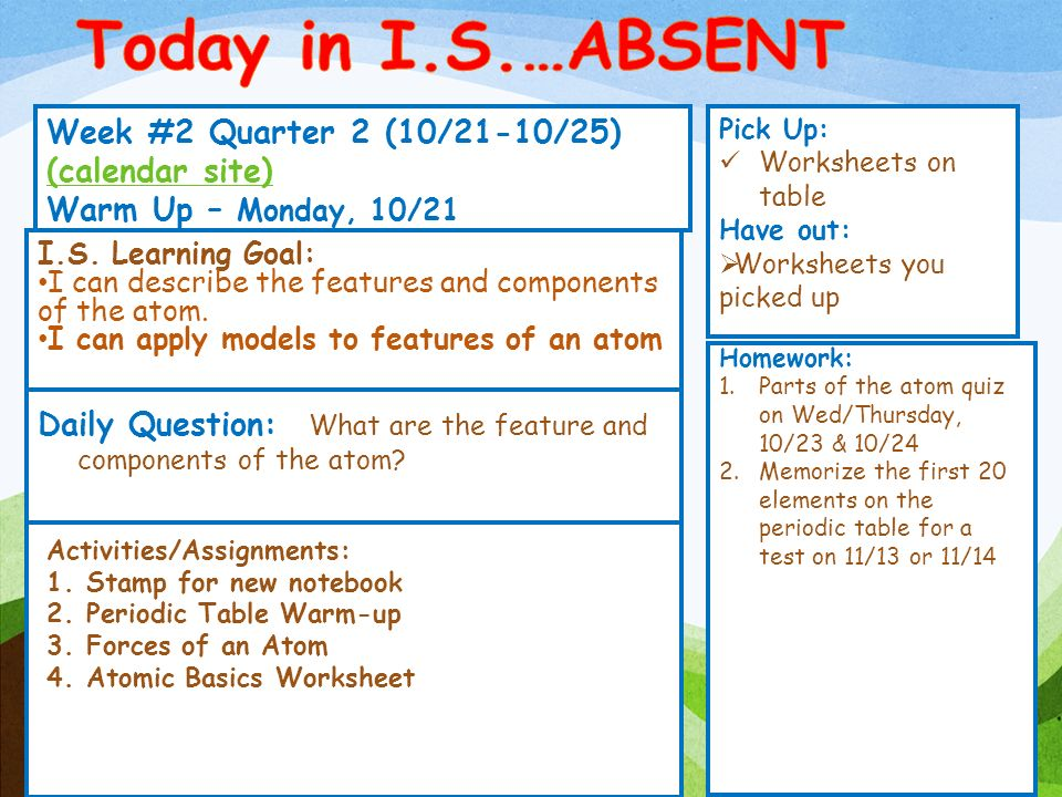 Today in IS ABSENT Week 2 Quarter 2 10211025 calendar – Parts of an Atom Worksheet