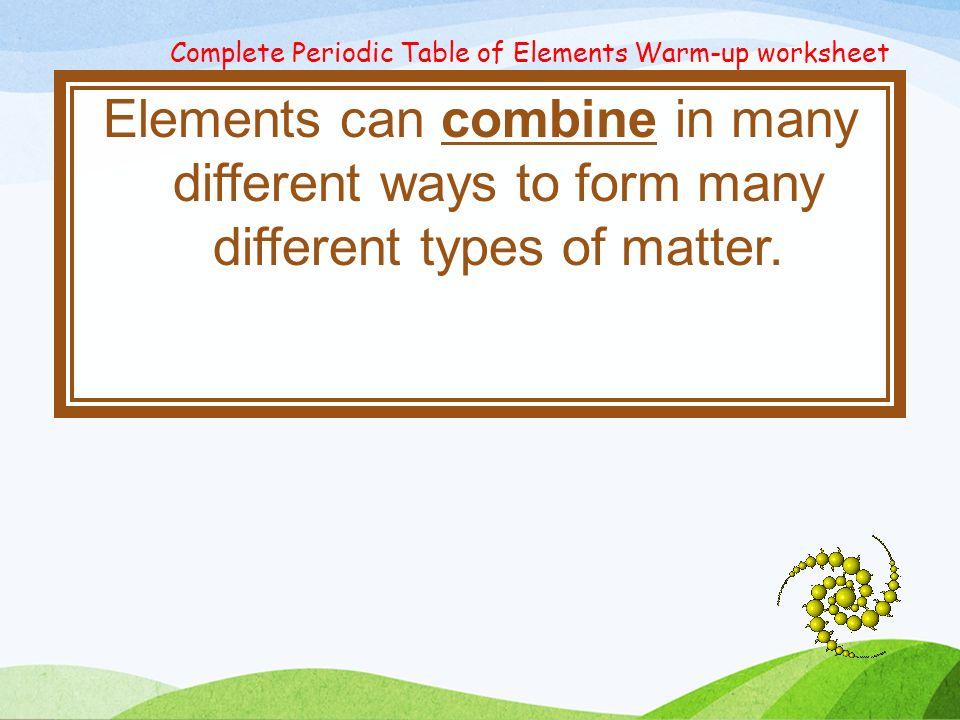 Today in IS ABSENT Week 2 Quarter 2 10211025 calendar – Types of Matter Worksheet