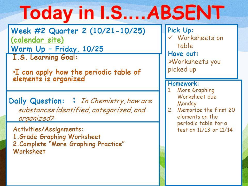 Today in I.S.…ABSENT Week #2 Quarter 2 (10/21-10/25) (calendar ...