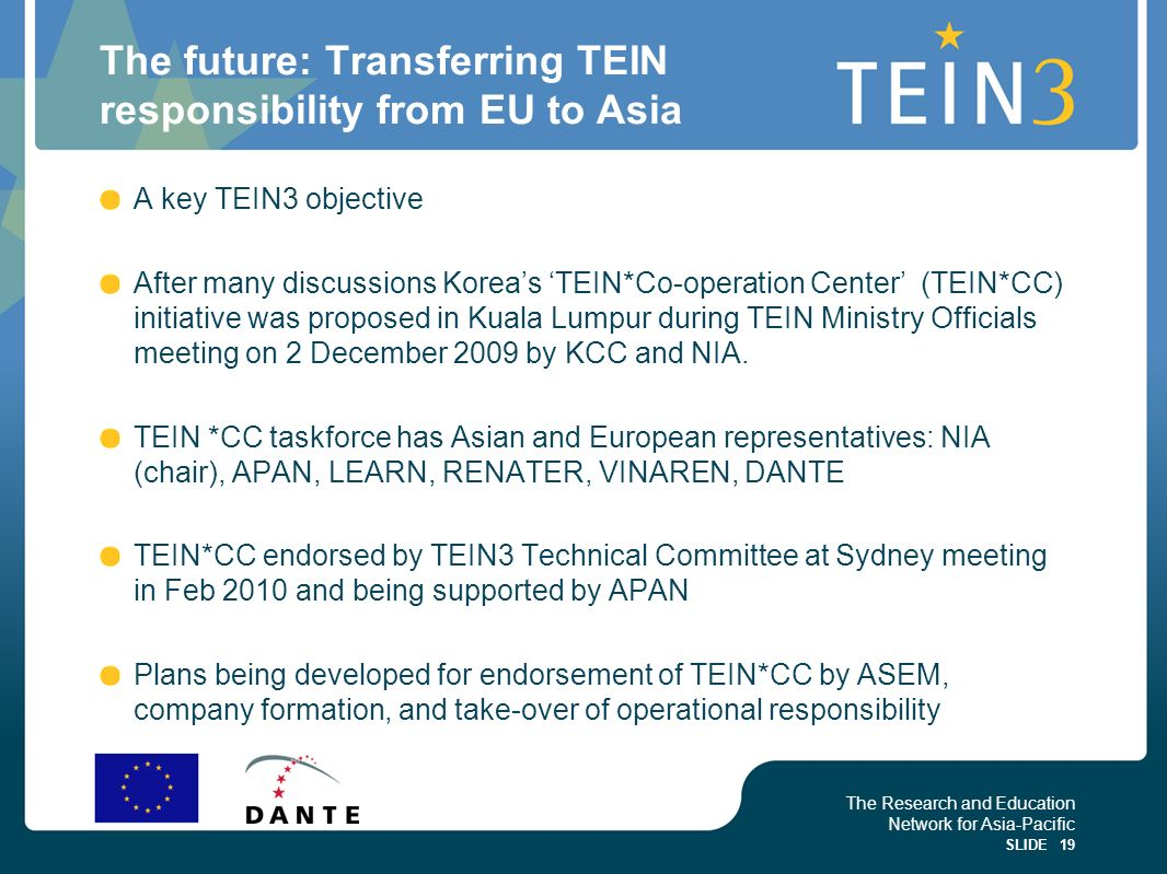 The future: Transferring TEIN responsibility from EU to Asia