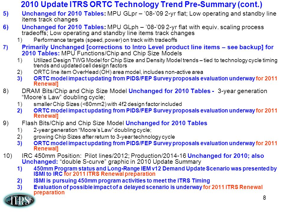 2010 Update ITRS ORTC Technology Trend Pre-Summary (cont.)