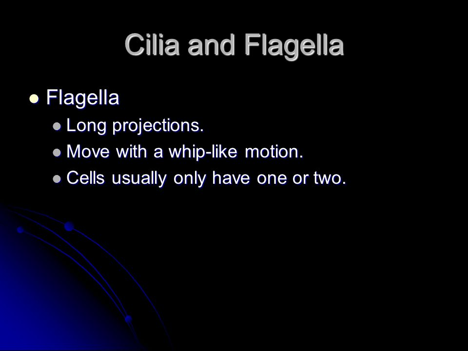 Cilia and Flagella Flagella Long projections.