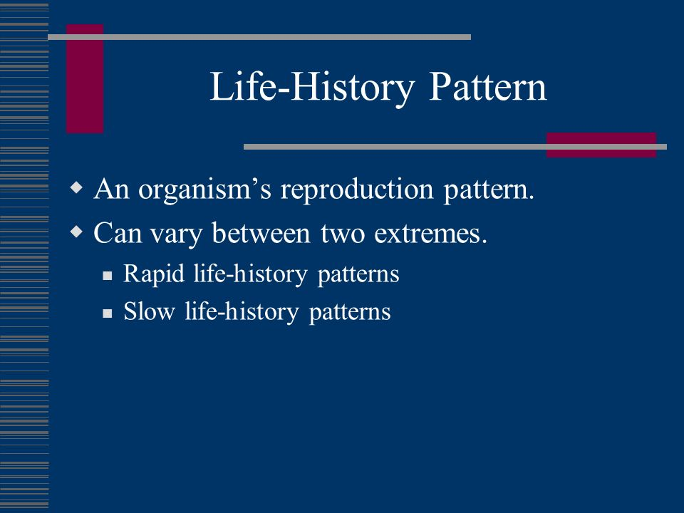 Life-History Pattern An organism's reproduction pattern.