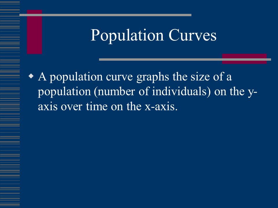 Population Curves A population curve graphs the size of a population (number of individuals) on the y-axis over time on the x-axis.
