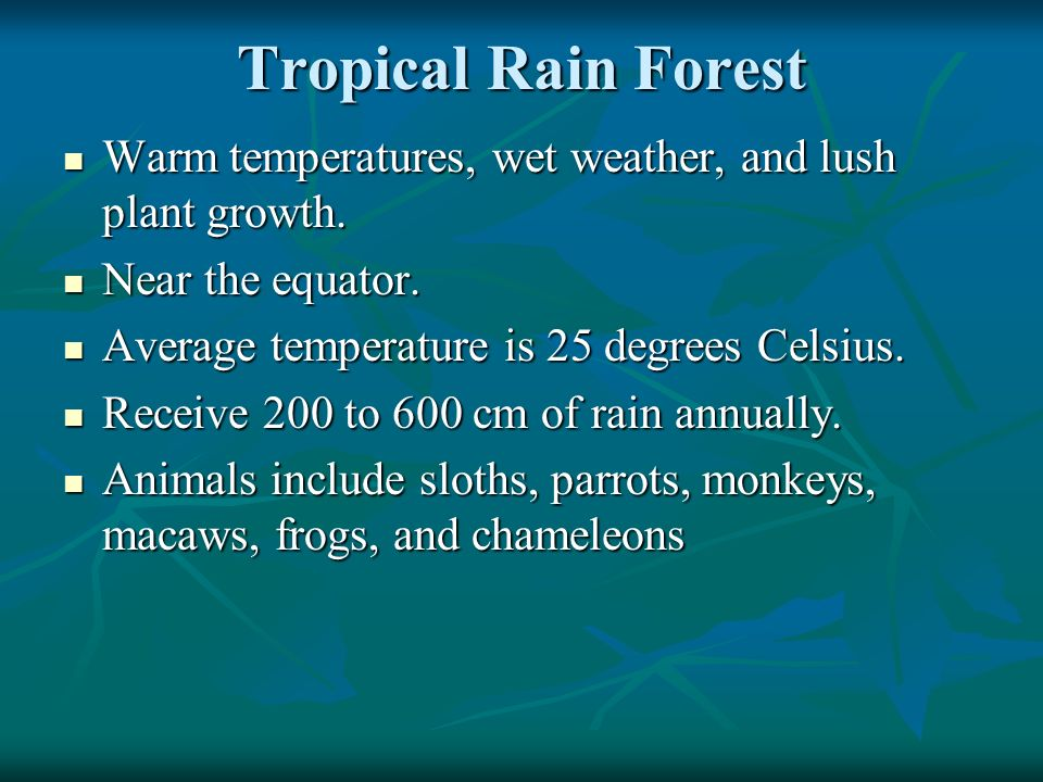 Tropical Rain Forest Warm temperatures, wet weather, and lush plant growth. Near the equator. Average temperature is 25 degrees Celsius.