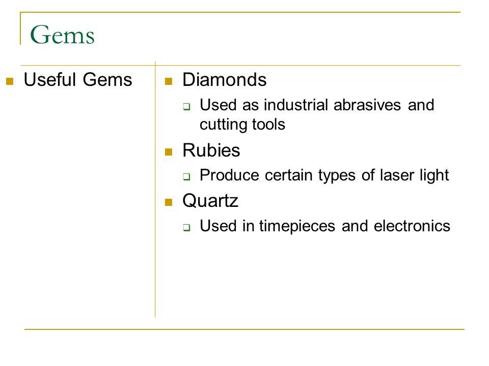 Gems Useful Gems Diamonds Rubies Quartz