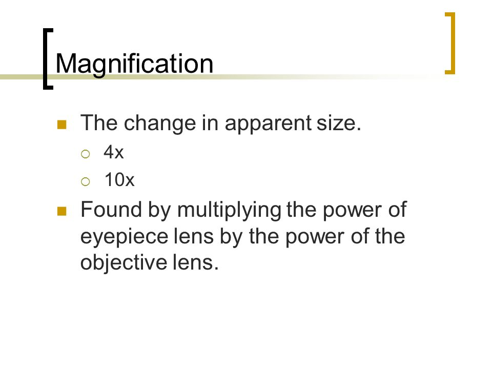 Magnification The change in apparent size.