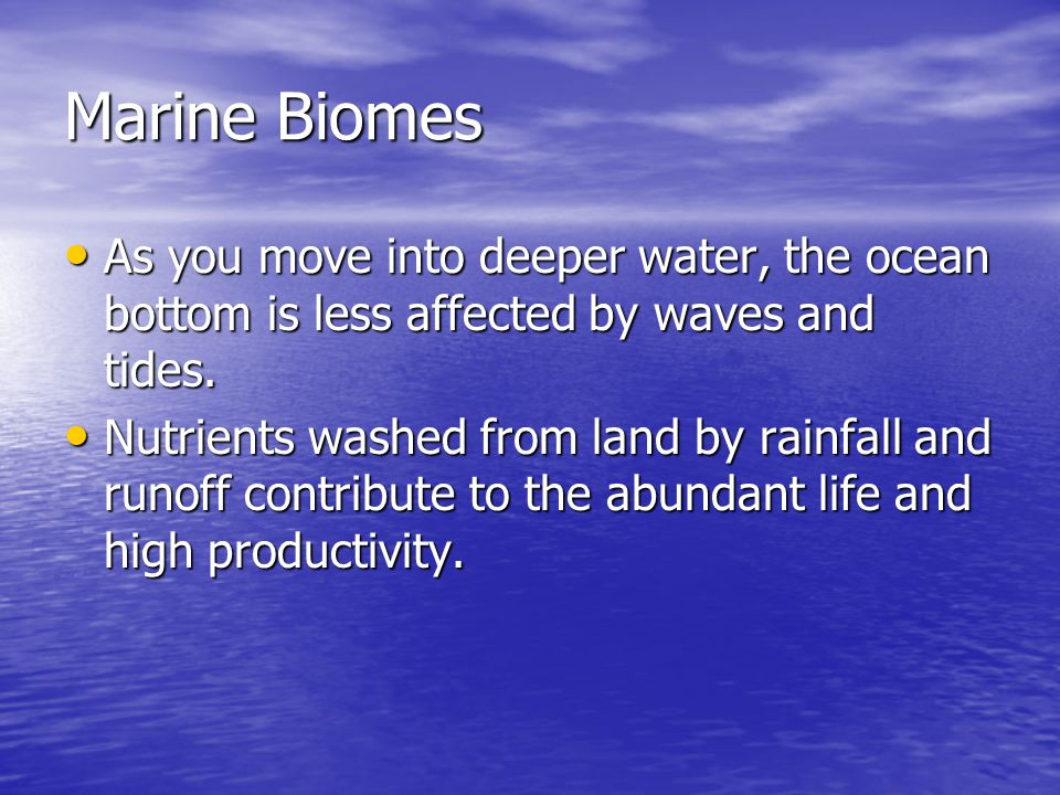 Marine Biomes As you move into deeper water, the ocean bottom is less affected by waves and tides.