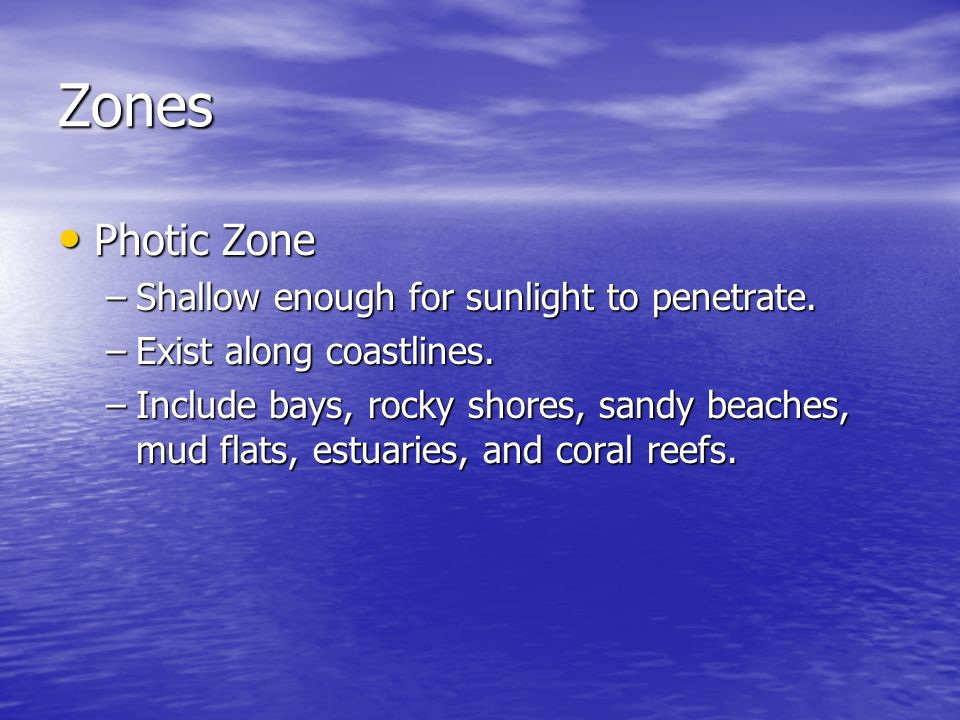 Zones Photic Zone Shallow enough for sunlight to penetrate.
