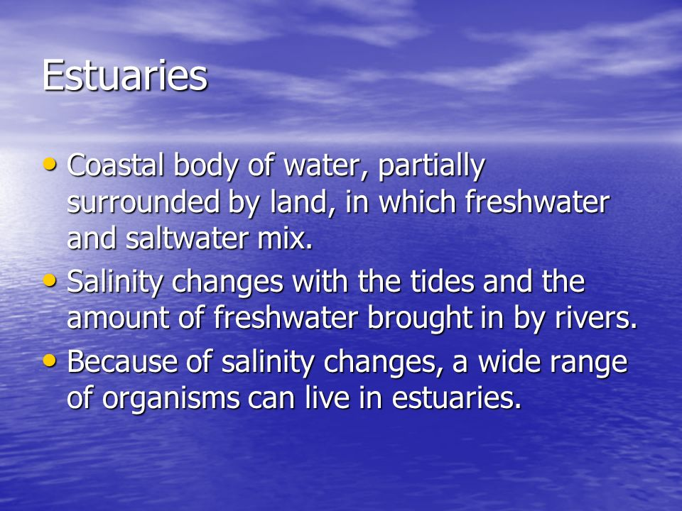 Estuaries Coastal body of water, partially surrounded by land, in which freshwater and saltwater mix.