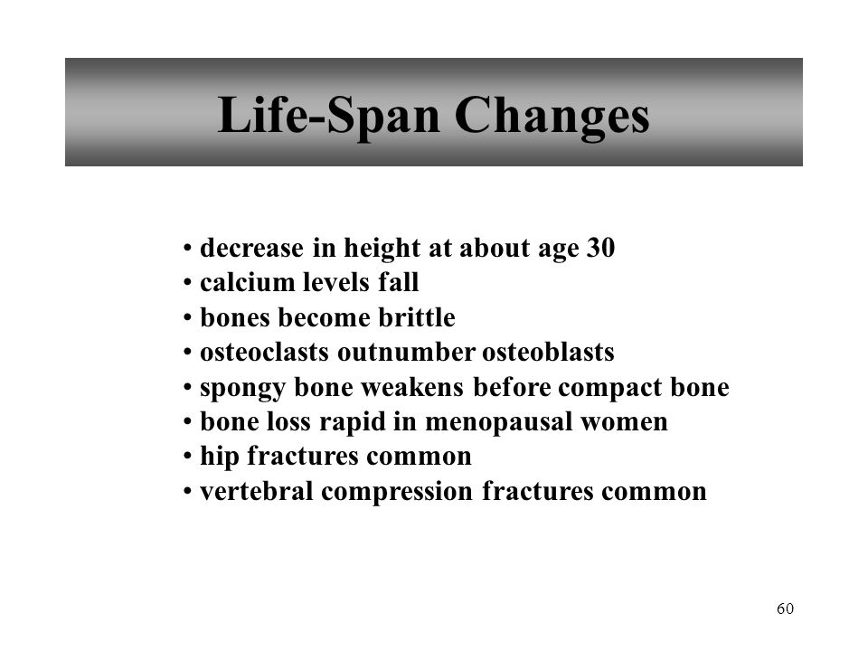 Life-Span Changes decrease in height at about age 30