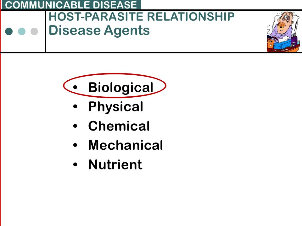 Disease Agents Biological Physical Chemical Mechanical Nutrient