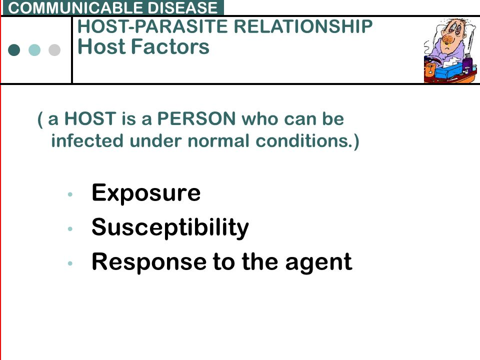 Exposure Susceptibility Response to the agent Host Factors