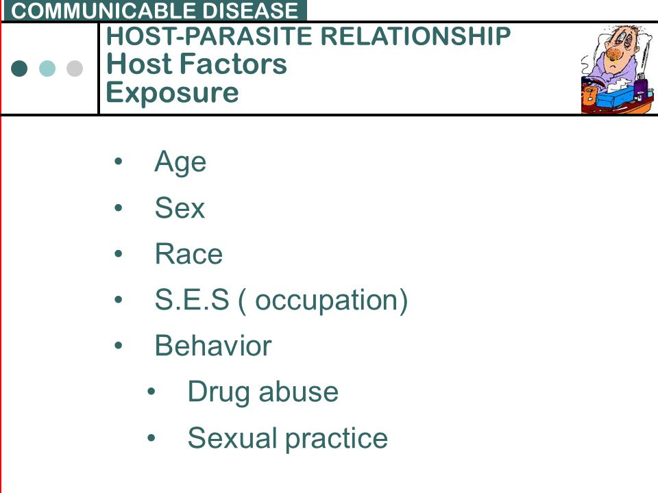 Host Factors Exposure Age Sex Race S.E.S ( occupation) Behavior