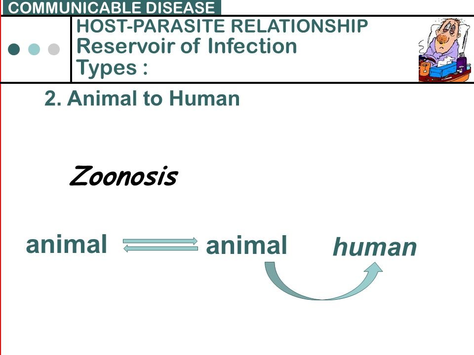Zoonosis animal human Reservoir of Infection Types :