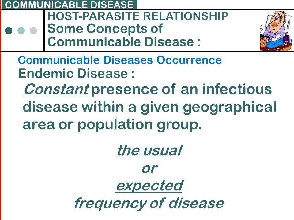 COMMUNICABLE DISEASE HOST-PARASITE RELATIONSHIP. Some Concepts of. Communicable Disease : Communicable Diseases Occurrence.