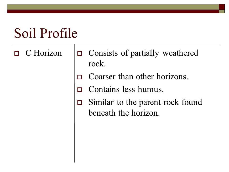 Soil Profile C Horizon Consists of partially weathered rock.