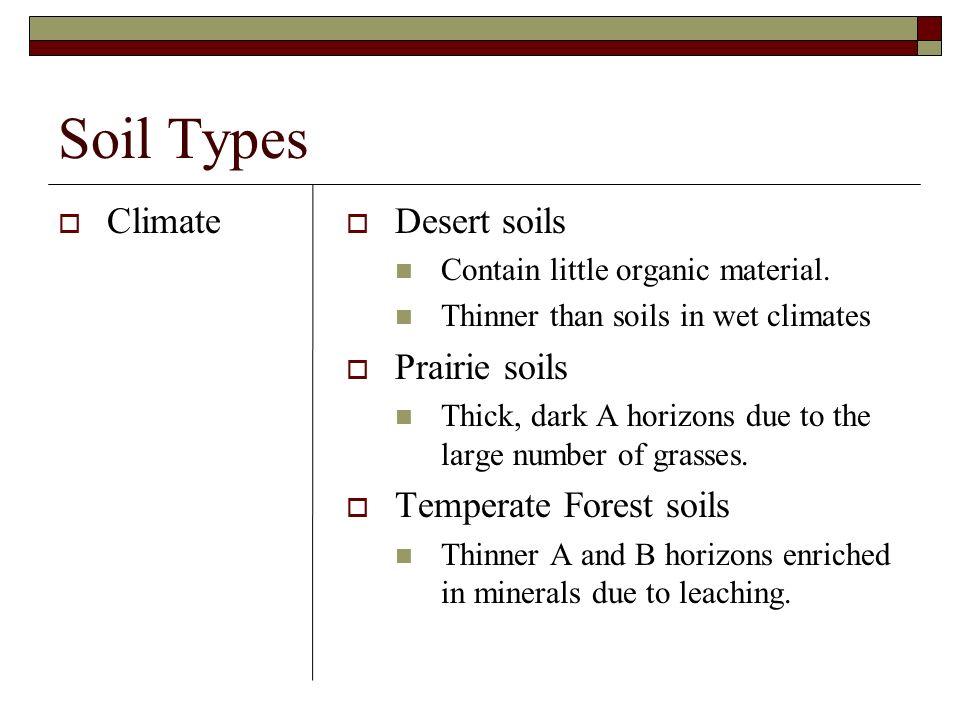 Soil Types Climate Desert soils Prairie soils Temperate Forest soils