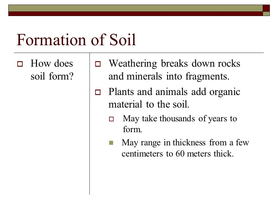 Formation of Soil How does soil form