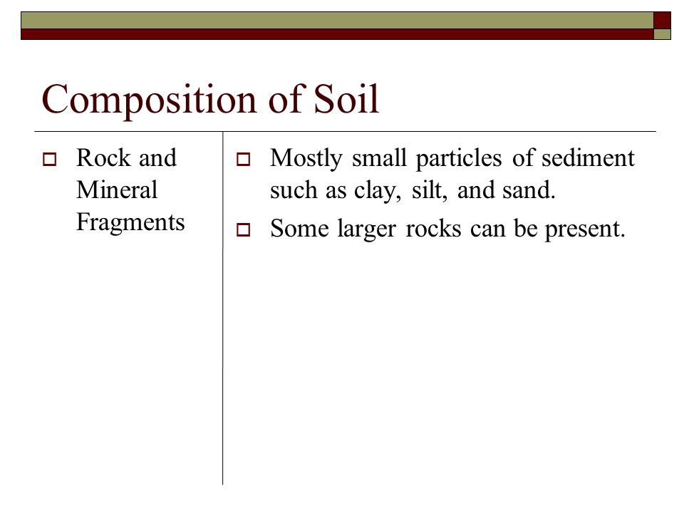 Composition of Soil Rock and Mineral Fragments