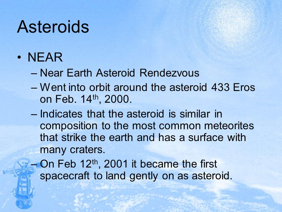 Asteroids NEAR Near Earth Asteroid Rendezvous