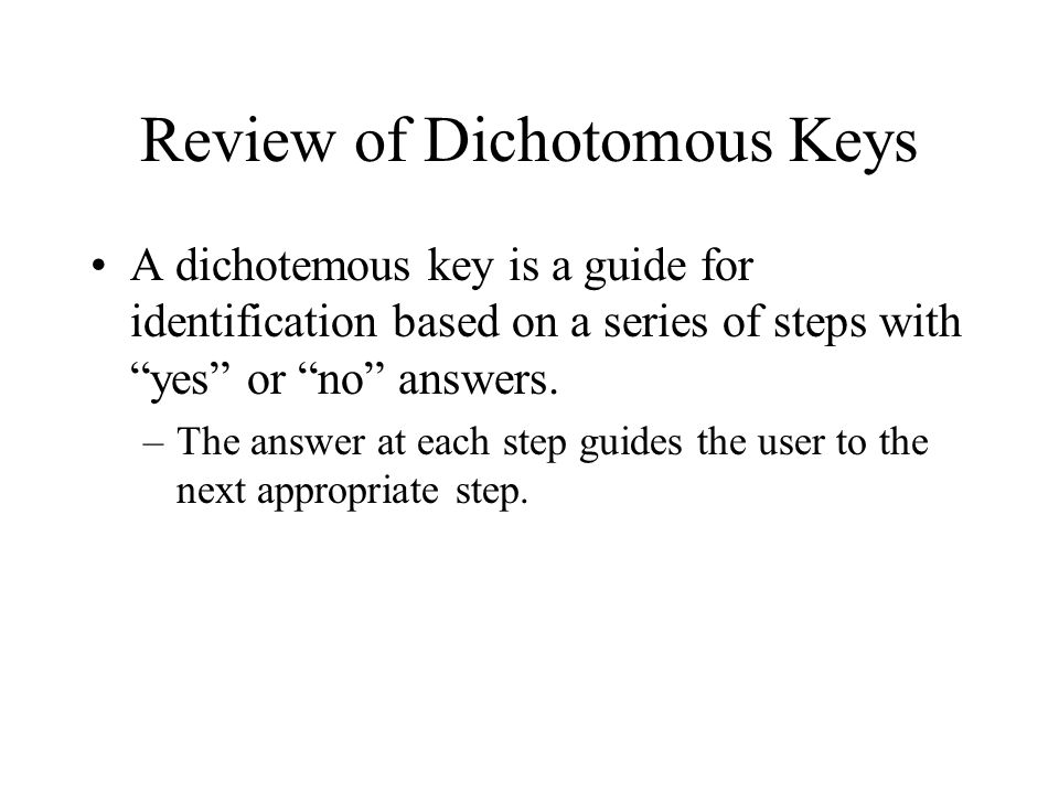 Review of Dichotomous Keys
