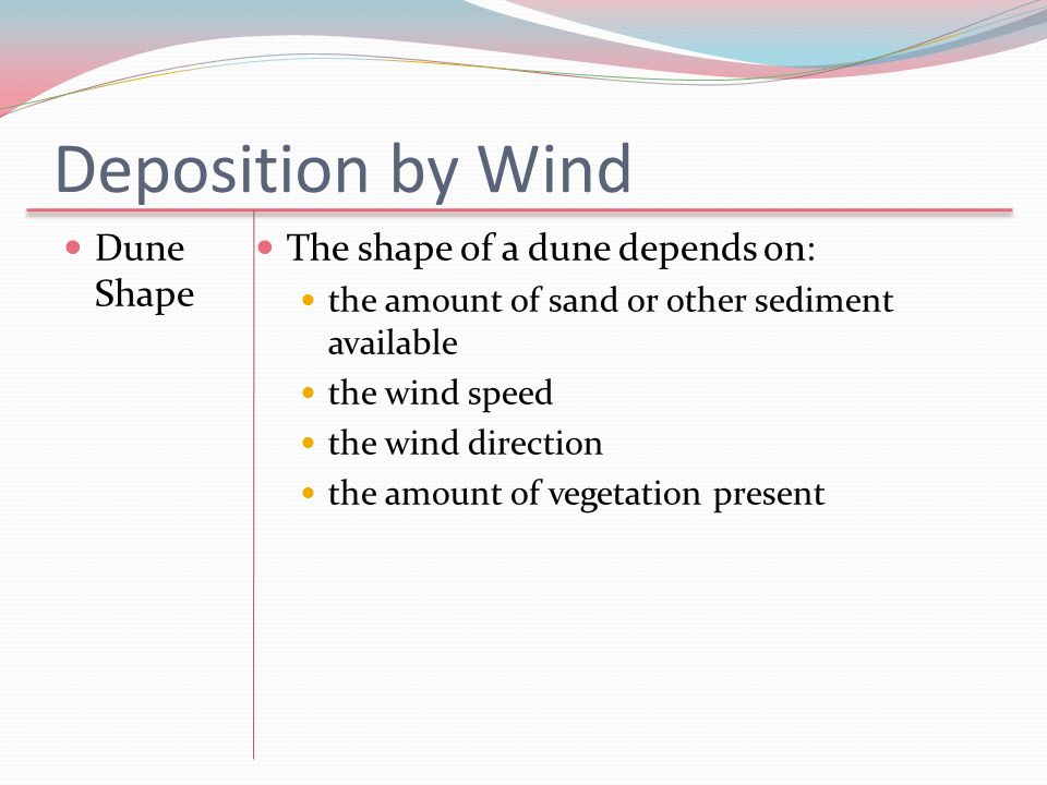 Deposition by Wind Dune Shape The shape of a dune depends on:
