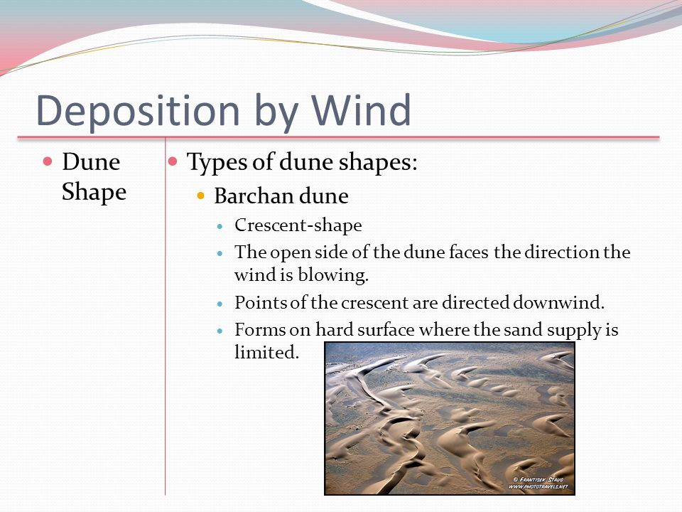 Deposition by Wind Dune Shape Types of dune shapes: Barchan dune