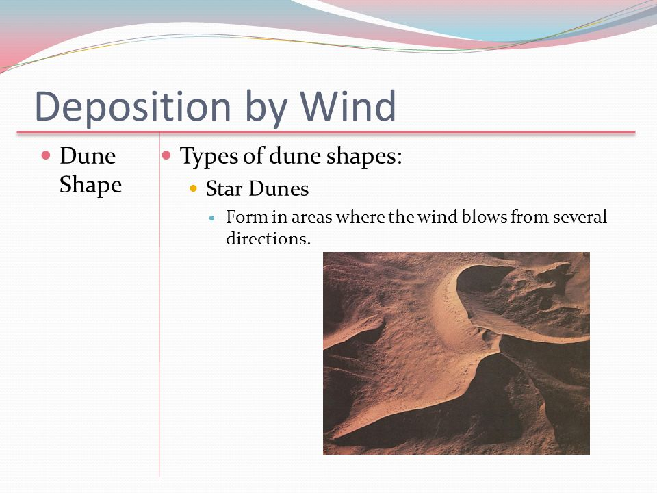 Deposition by Wind Dune Shape Types of dune shapes: Star Dunes