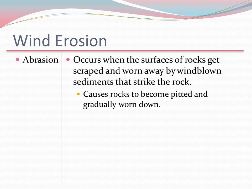 Wind Erosion Abrasion. Occurs when the surfaces of rocks get scraped and worn away by windblown sediments that strike the rock.