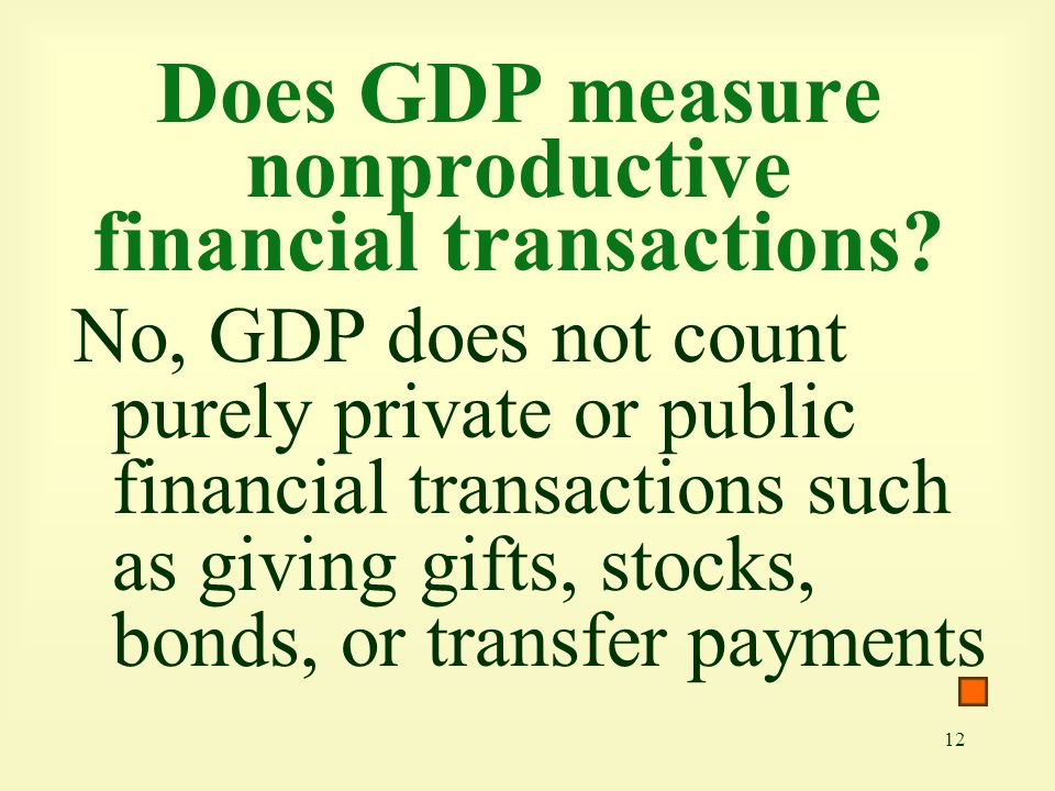 Does GDP measure nonproductive financial transactions