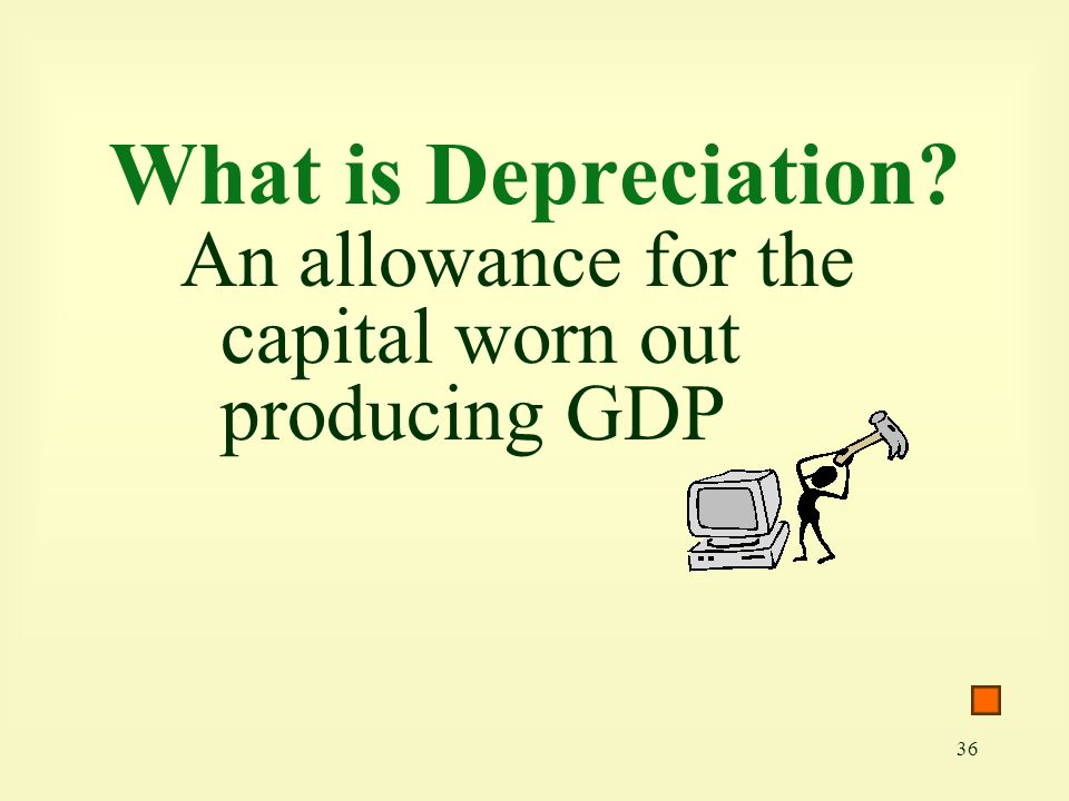 What is Depreciation An allowance for the capital worn out producing GDP