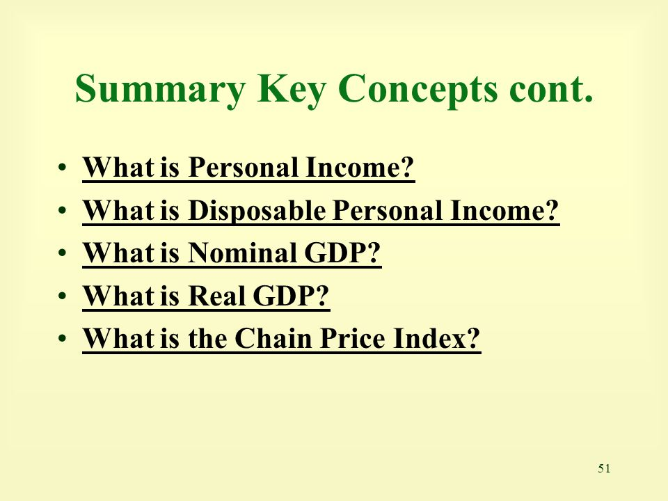 Summary Key Concepts cont.