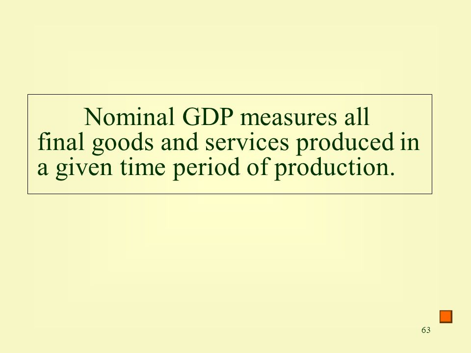 Nominal GDP measures all final goods and services produced in a given time period of production.