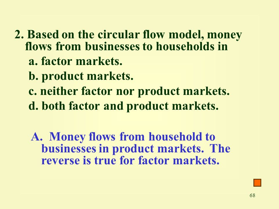 2. Based on the circular flow model, money flows from businesses to households in