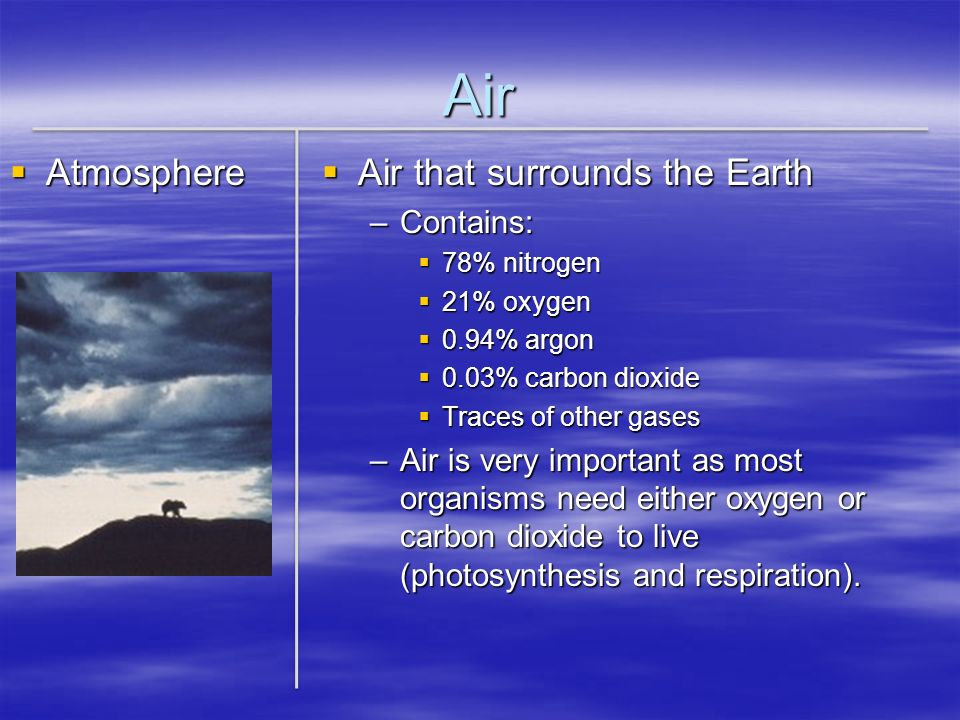 Air Atmosphere Air that surrounds the Earth Contains: