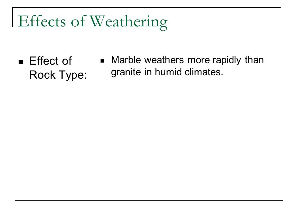 Effects of Weathering Effect of Rock Type: