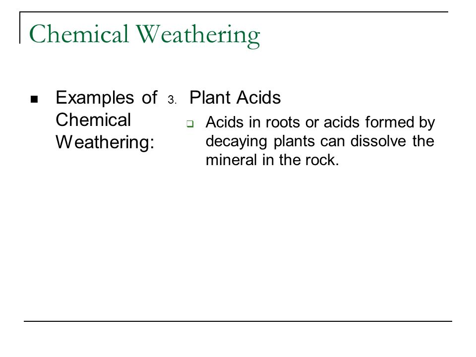Chemical Weathering Examples of Chemical Weathering: Plant Acids