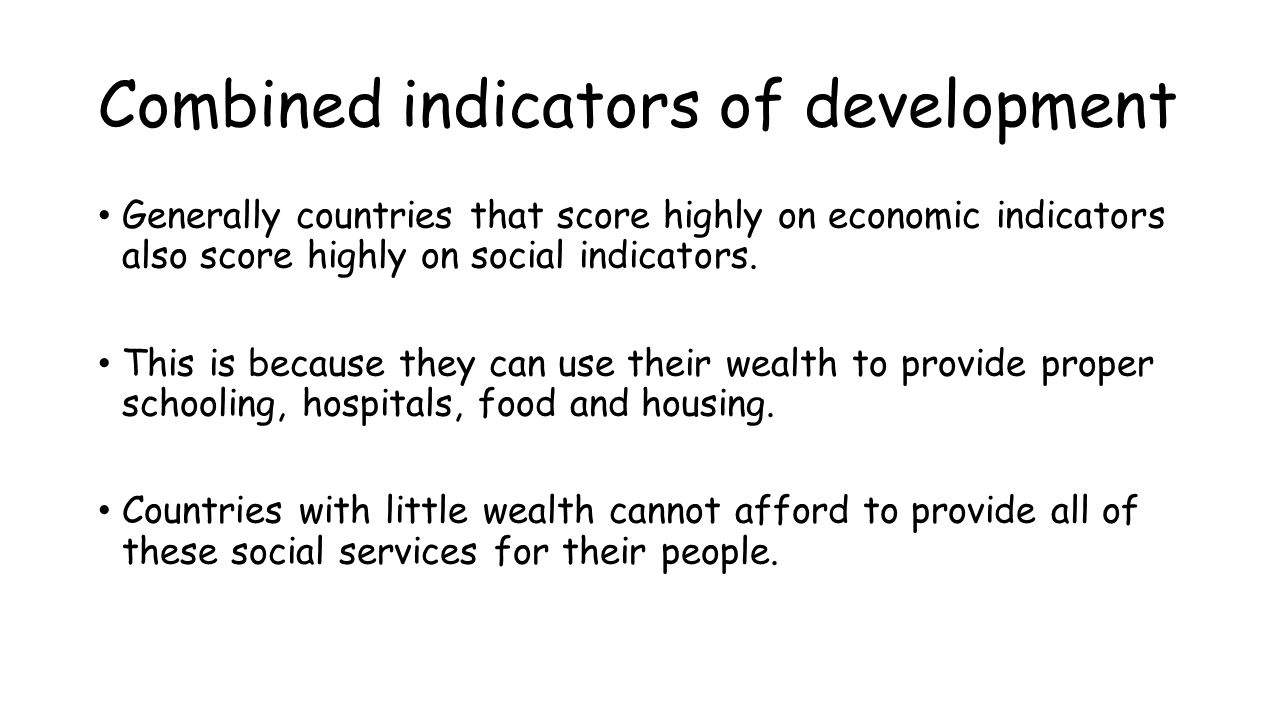 Combined indicators of development