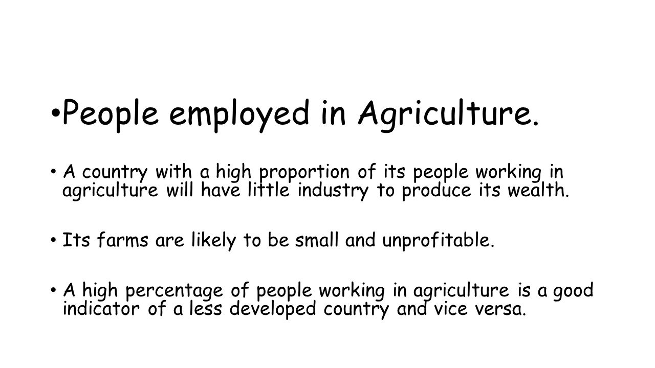 People employed in Agriculture.