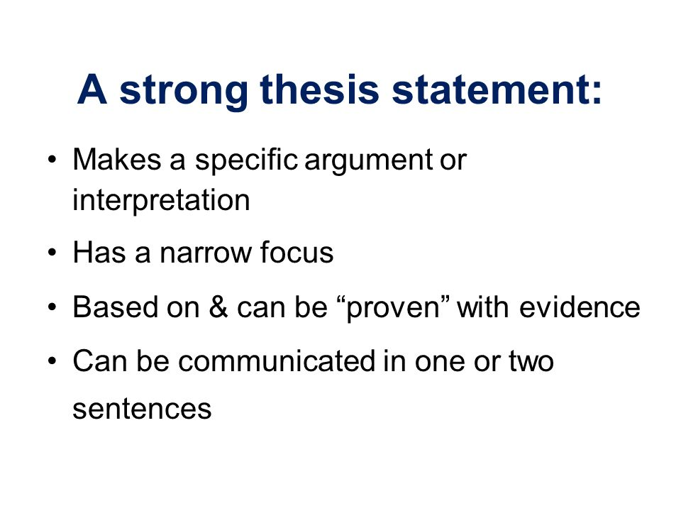 can a thesis be more than one sentence