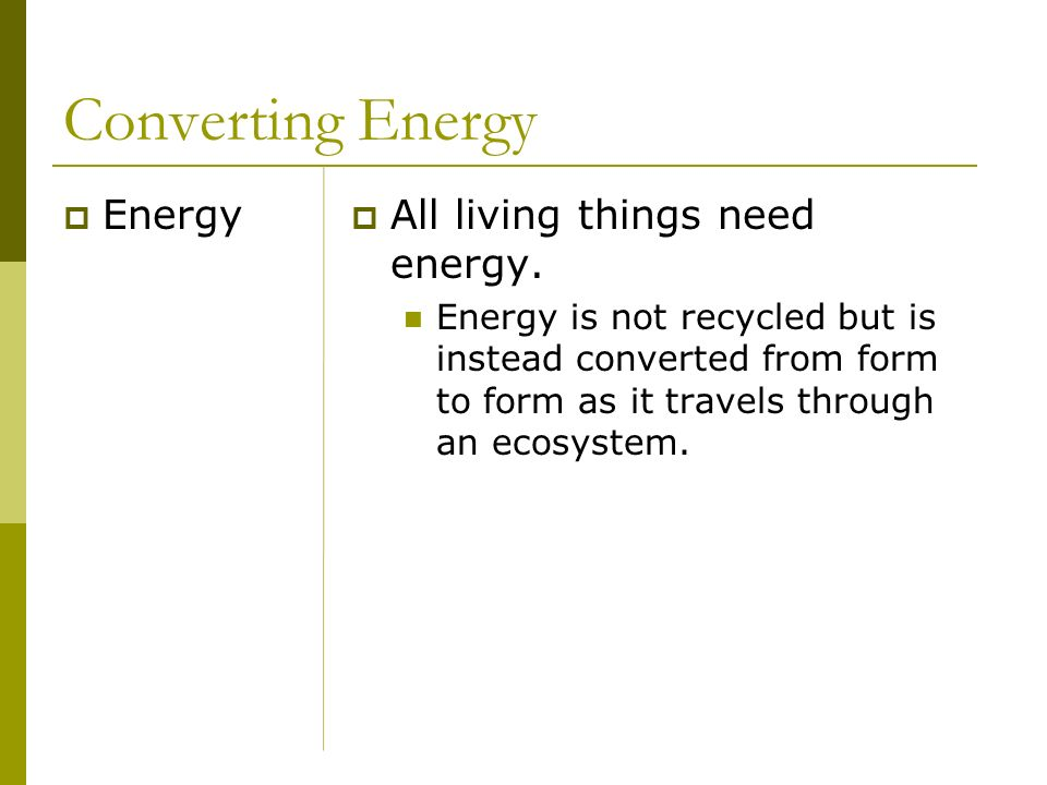 Converting Energy Energy All living things need energy.