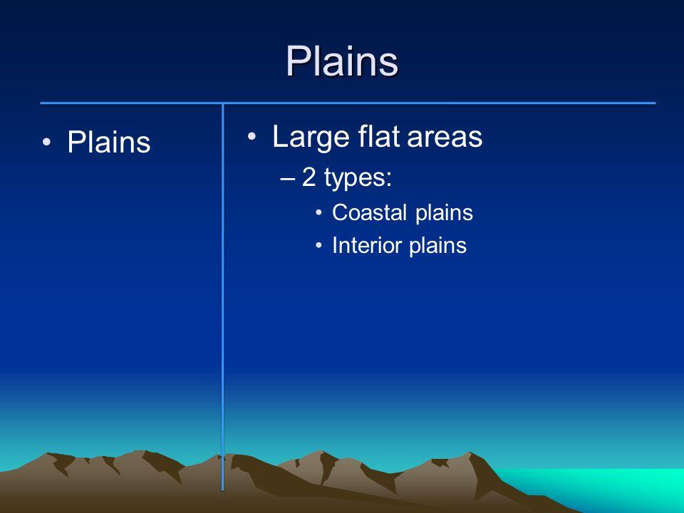 Plains Large flat areas 2 types: Coastal plains Interior plains Plains