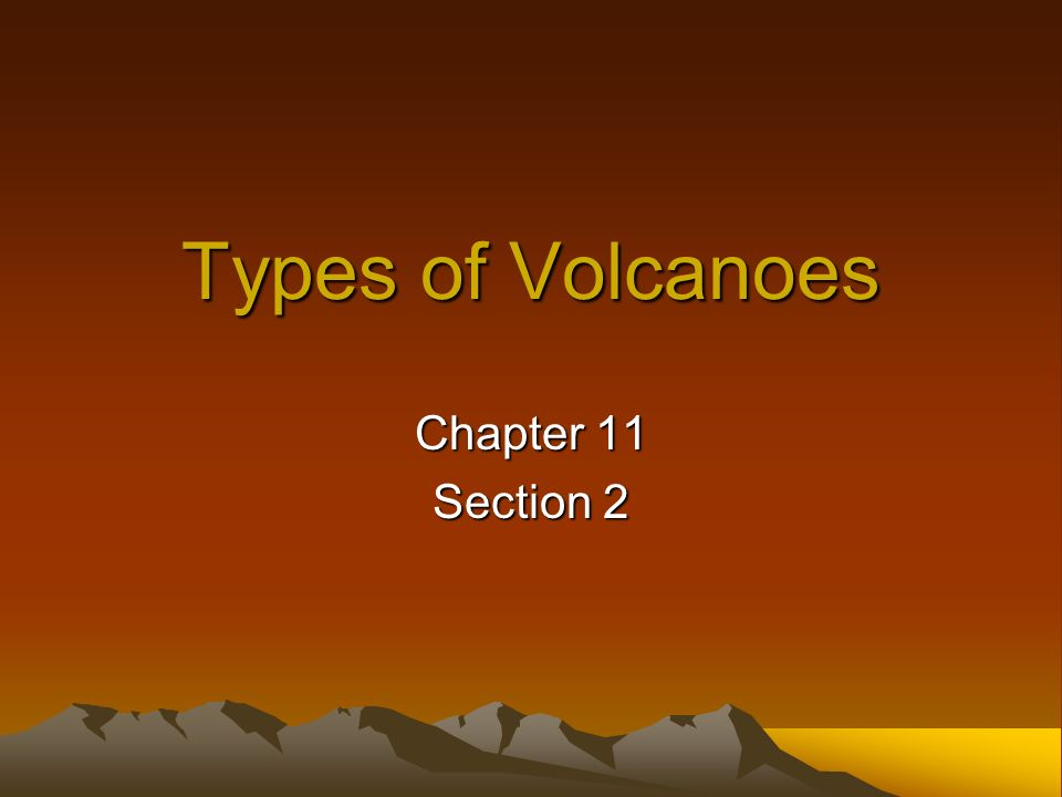 Types of Volcanoes Chapter 11 Section 2