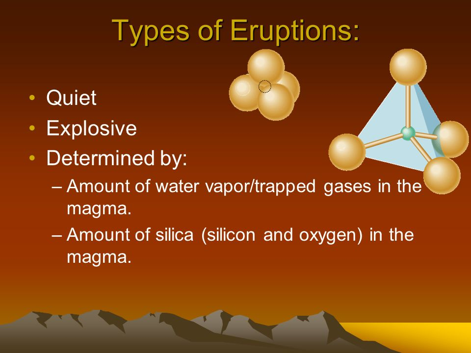 Types of Eruptions: Quiet Explosive Determined by: