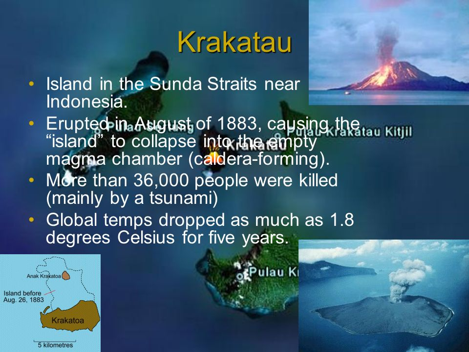Krakatau Island in the Sunda Straits near Indonesia.