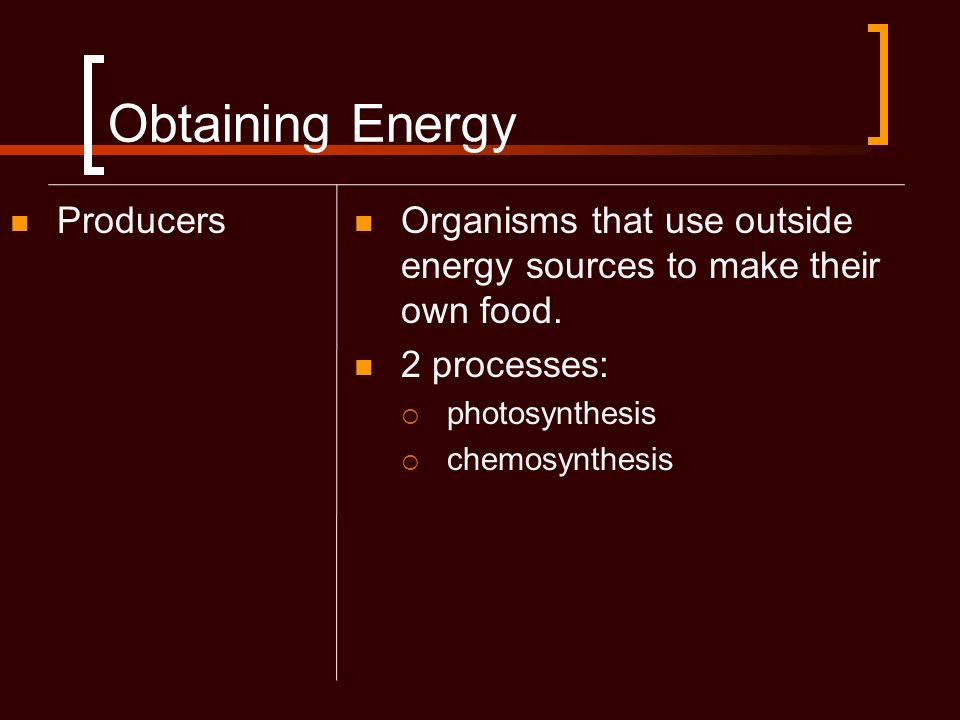 Obtaining Energy Producers