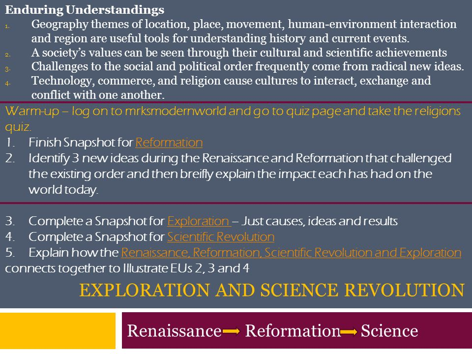 Renaissance, Reformation, Scientific Revolution